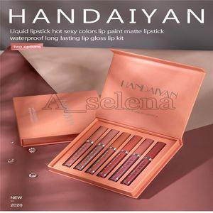 HANDAIYAN matte nude liquid gloss Moisturizing non-stick cup lip gloss two styles waterproof lip kit 6pc set