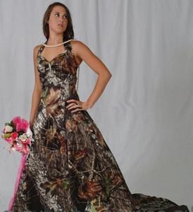 Camo Wedding Dresses Halter Neck Sleeveless Cheap Bride Party Wedding Gowns Long Sweep A Line Vestidos De Novia