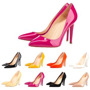 Christian Louboutin Red Bottoms CL shoes  yüksek topuklu bayan ayakkabı 8 ile 10 cm 12cm lüks tasarımcı Moda Çıplak siyah deri Sivri Toes Marka ayakkabı Pompalar Elbise
