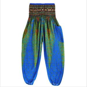Mulheres tailandesas Calças de cintura alta floral da cor cópia do ponto Baggy Trousers Harem Martial cordão Hippy 2018 Novo