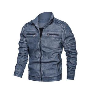 Мужские дизайнерские кожаные куртки Мода PU Vintage Luxury Jacket 2019 Новое прибытие Streetwear Кожаная куртка с застежкой-молнией Мужская одежда