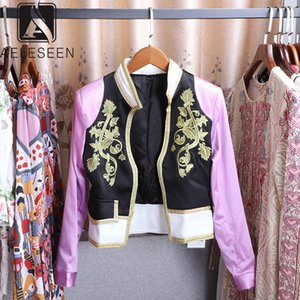 AELESEEN 2019 가을 뜨거운 판매 짧은 재킷 활주로 디자인 럭셔리 꽃 3D 인쇄 하이 스트리트 열기 스티치 상단에 판매