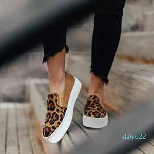 Sıcak stil -Leopard Flats ayakkabı kadınlar rahat Platform Ayakkabı kadın loafer'lar Moda Yılan derisi Roman Tuval Ayakkabı Bayanlar Yuvarlak Burun Tembel