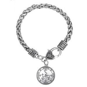 BC013 Europe and America Angel Amulet Pendant Twist Thick Bracelet Life Flower Amulet Hollow Pendant Bracelet