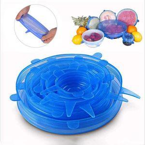 Silicone extensible Couvercles aspiration Pot Couvercles 6pcs / set de qualité alimentaire frais Garder Wrap Couvercle Joint Pan Couvercle de cuisine Outils Accessoires Lave-vaisselle B7300