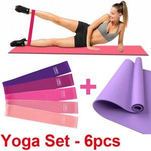Yoga Mat 6 mm de espesor de EVA para principiantes Yoga Ejercicio Pilates colchonetas de gimnasia Inicio Equipo de entrenamiento del equipo con banda de resistencia