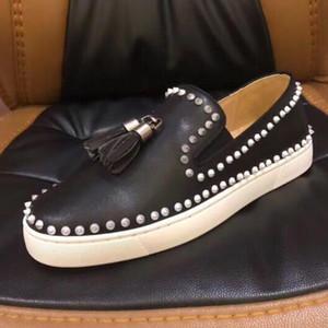2019 Nova Casual Lover Shoes Marca Studded Spikes Red Bottom Flats Sapatos Casuais Das Mulheres Do Partido Das Mulheres de Couro Genuíno de Casamento Sneakers 35-47 C1