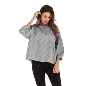 Vêtements pour femmes 2019 ronde chaud printemps et en été Collar mode Big Bubble manches en vrac Code de Lattice T-shirt