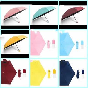 الميثاق الجيب المظلات الترا ضوء صغيرة قابلة للطي مظلة كبسولة حالة مظلة صامد للريح المطر الشمس المظلات المحمولة 14 الأنماط LXL92-1