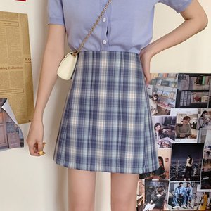 2020 New Arrival Women Girl Summer Plaid Skirt Models Were Thin High Waist Vintage Sweet Skirt Fashion Clothes Hot