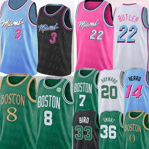 NCAA Dwyane Wade 3 Kemba 8 Walker Jersey Jimmy 22 Butler Tyler 14 Herro Jaylen 7 Brown Larry # Vogel Hayward Basketball-Trikots