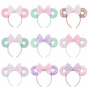 Bebek Saç Fare Ears Saç Bandı Glitter Pullarda Yaylar Donut Kafa Çocuk Cosplay Headdress Hoop Çocuk Saç Aksesuarları 15Color D33 Sticks