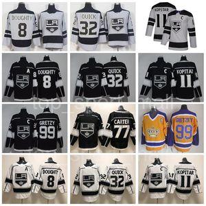 Hockey Kings de Los Angeles 8 Drew Doughty Maillots 11 Anze Kopitar 32 Jonathan Quick 77 Jeff Carter 99 Wayne Gretzky Noir Gris Homme Jeune Femme
