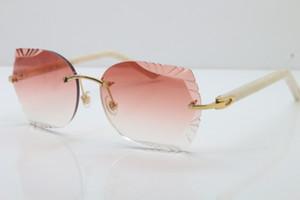 Toptan 2020 Sıcak Lens Gözlük 8200762A Rimless Metal Mix Beyaz Siyah Plank Güneş Unisex Optik moda güneş gözlüğü Oyma