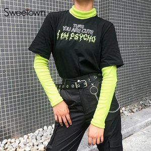 Sonbahar Casual Gotik Uzun Kollu Siyah Tişörtlü Patchwork Mock İki Parça Turtleneck Komik T Shirt Kadınlar Streetwear