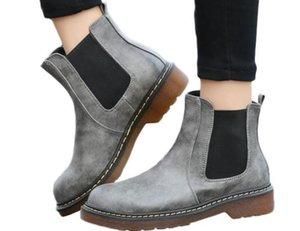Горячая распродажа-весна осень черные серые женщины искусственная кожа сапоги круглый носок оксфорд ботильоны дамы мартин мотоцикл сапоги обувь женская