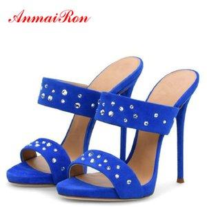 ANMAIRON verano Flock lindo deslizadores de los zapatos para mujer 2020 Thin Solid mujeres zapatos de los tacones peep toe de moda deslizadores de las mujeres