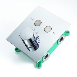 2 기능 온도 조절 식 샤워 컨트롤러 스위치 밸브 욕실 샤워 꼭지 벽 장착 은닉 샤워 믹서 황동 크롬