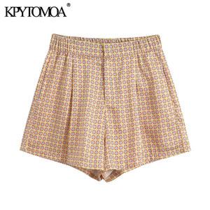 KPYTOMOA Femmes 2020 Mode imprimé géométrique Shorts Vintage taille haute Zipper Femme Pantalon court Pantalones Cortos