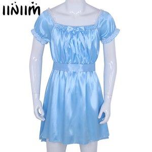 이니셜 망 섹시 의상 란제리 Babydoll 반짝 이는 부드러운 새틴 Crossdress 남성 새시 사이시 속옷 란제리 섹시한 뜨거운 에로 Y19070202