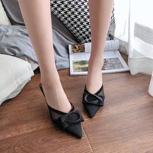 Tacco alto neri Mules Scarpe Donna Lace traspirante Scarpe a punta pantofole sandali estivi mezzo sexy Pantofole Sandali donna 2020