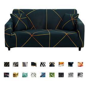 Sofá cobre Stripes impresso para sala Elastic estiramento Slipcover secional de canto Couch Covers 1/2/3/4-seater