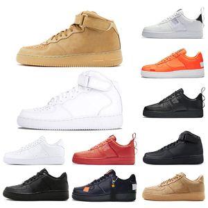 Nike air force 1 2019 Erkek Bayan Tasarımcı Ayakkabı Lüks Orijinal Rahat Siyah beyaz kırmızı kahverengi Turuncu Beyaz Spor Sneakers Ayakkabı Online Satış Boyutu 36-45