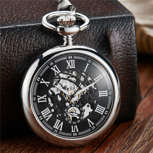 Roman suave Dial Mehanical Pocket Watch FOB Cadeia Vintage Skeleton Assista Womens Mens Mecânica Vento Mão