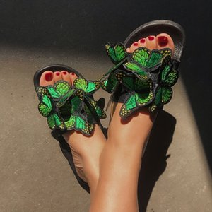 Summer new designer ladies fashion sandals bowknot embroidered slippers thick bottom outdoor indoor leisure flip flops
