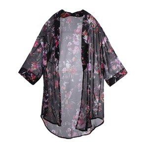 Moda feminina Boho Chiffon Kimono Shirt Cardigan Long Beach Cover Up Imprimir Tops Mulheres Roupa Set