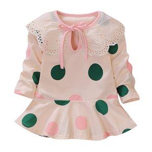 Yüksek Kalite Sıcak Sevimli Küçük Kız Gasual Elbiseler Çocuklar Bebek Kız Renkli Büyük Noktalar Prenses Dres Sonbahar Bebek Kız Sundress