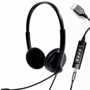 USB Headset com microfone dupla face for Business Skype Trabalho de fones de ouvido USB para o uso do computador
