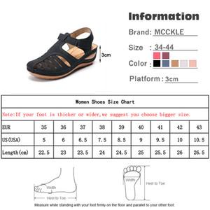 Vintage Leather MCCKLE verano de la mujer sandalias de la hebilla de costura Casual Mujer Zapatos Mujer señoras de la plataforma Sandalias retro Plus 35-44