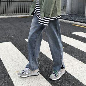 Korean Straight Jeans Men's Fashion Casual Retro Blue Jeans Pants Men Streetwear Wild Loose Hip Hop Denim Trousers Mens S-2XL