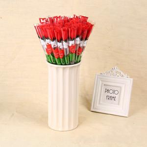 Simulation Rose Fleur Simple Roses Rouges Ours De Bande Dessinée Avec Un Autocollant En Forme De Coeur Cadeau De La Saint Valentin