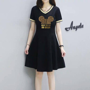 Women Dress Summer Printed Short Sleeves Lady Dresses V-Neck Fashion Style Slim For Women Tops Casual Dresses1