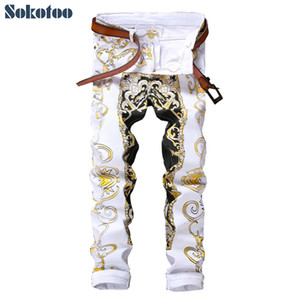 Sokotoo Men's Slim Print Jeans Fashion Flower Straight White Denim Pantalones Pantalones largos