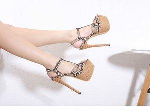 Стальная труба Танцы обувь Женщины Европы 2020 Летняя Супер Высокий каблук Peep Toe 17.5CM змеиной сандалии толстым дном обувь Модель