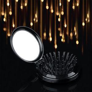 Round Ball Tipped Hair Comb W  Mirror Anti-static Massage Comb Brush Black
