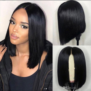Natural Color Short Bob Straight Full Lace Human Hair Wig 13x4 Lace Front Wig With Baby Hair Brazilian Peruvian Hair For Black Women