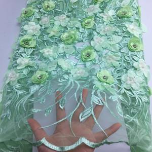 тюль бисер отделки кружева с 3D вышивки 233 французской шнуром кружевной ткани для нигерийских свадебных женщин в свадебном