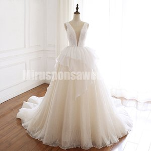 vestidos de noiva Scoop A-Line Fall Wedding Dresses Court Train Pleated Bust Non Traditional Wedding Dresses Lace Up Back Bridal Dresses