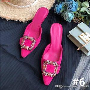 ultimo fiore e diamante fibbia tacco alto a punta sandali in seta con motivo testa a spillo pantofole altezza del tacco 5,5 cm con la scatola 34-41