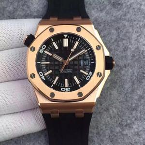 13Tim Royal Oak Offshore Chronograph Stop Watch Clad 42 Ginza Cassa in oro rosa Quadrante nero Cinturino in pelle Al quarzo Orologi da uomo Orologio da polso Gratis