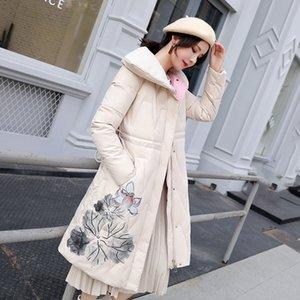 2019 Winter New Women's Long Jacket Loose Printed National Wind Coat Warm Parkas Snow Outwear Female