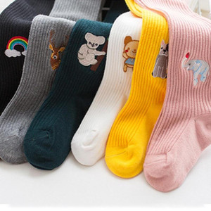 Baby Kids Girl Fashion Tights Cute Sweet Cartoon Embroidery Knit Pantyhose Korean Style Kids Sweet Warm Stockings