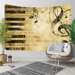 Else Brown Music Notes Piano Vintage Treble Clef 3D Print Decorative Hippi Bohemian Wall Hanging Landscape Tapestry Wall Art