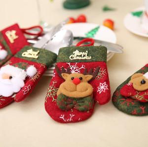 forma guanto di Natale il nuovo Babbo Natale del pupazzo di neve renna Capodanno Pocket forcella posate copertura Family Party Posate Decoration