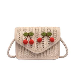 Новые дикие вязаные сумки Messenger Girl Cute Cherry Сумка через плечо Мода Личность Большая емкость Crossbody Сумки Чешские пакеты Messenger