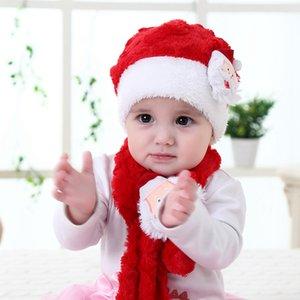 Çocuklar Noel Noel Baba Şapka Eşarp Çocuk Peluş Karikatür bebeğin fular Çocuk Kış Cap Noel kasketleri LJJA3516-2 Isınma set